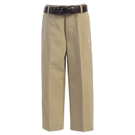 Boys Khaki Flat Front Solid Belt Special Occasion Dress Pants 8-20