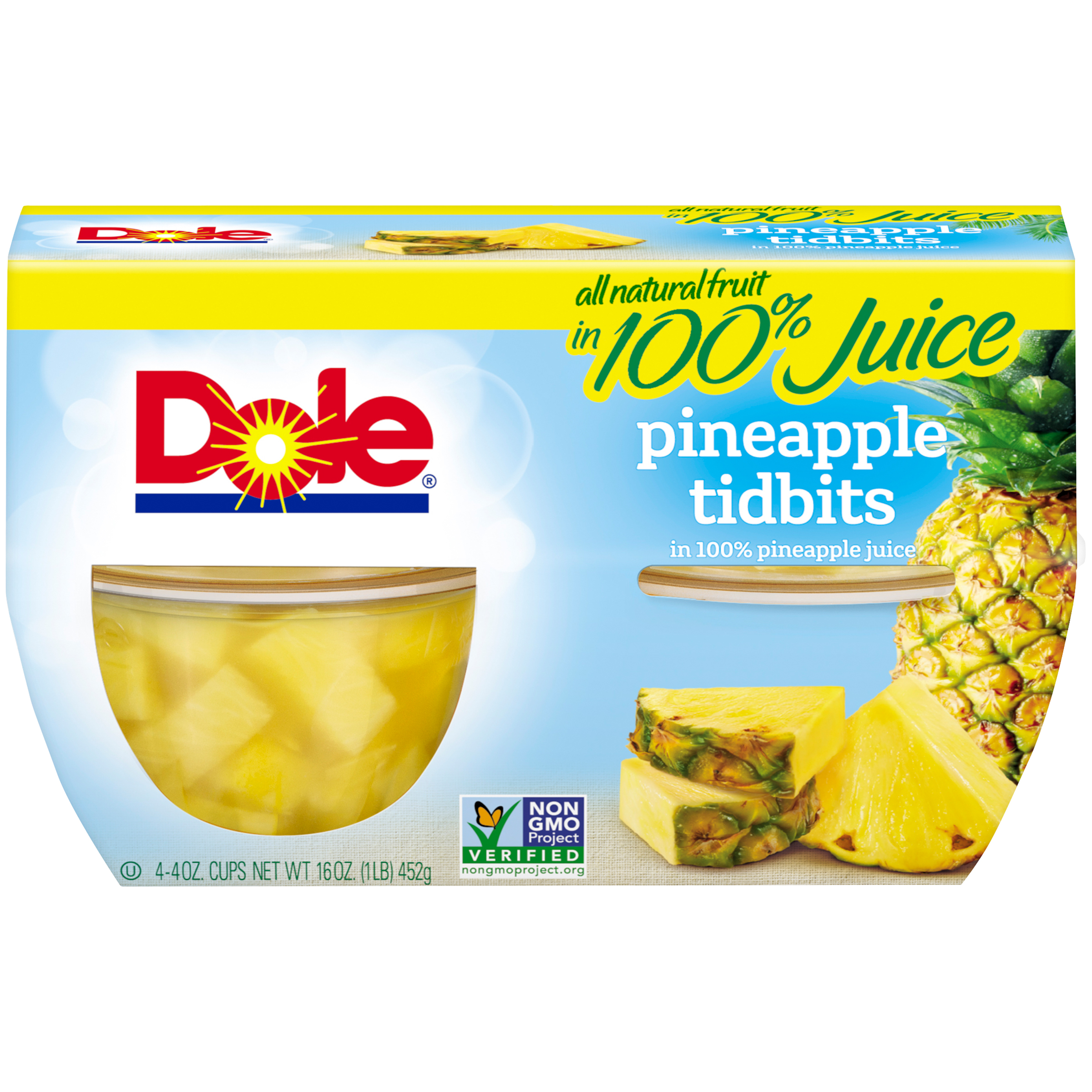 Dole Fruit Bowls, Pineapple Tidbits in 100% Pineapple Juice, 4 Ounce (4 Cups)