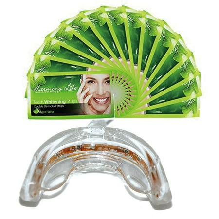 Accueil dents Blanchiment professionnel Kit avec 6% bandes HP Double élastique Gel 10 dents LED blanchissant l'accélérateur