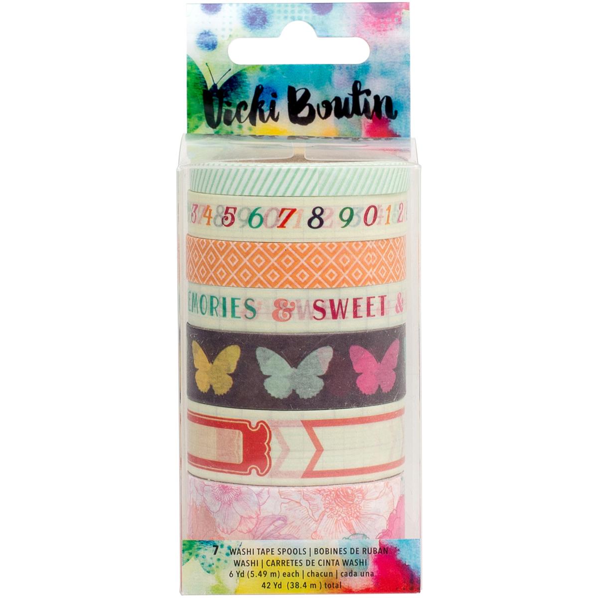 Vicki Boutin Mix ed Media Washi Tape 42 Yards - Color Pop, 7 Designs/6 Yards Each