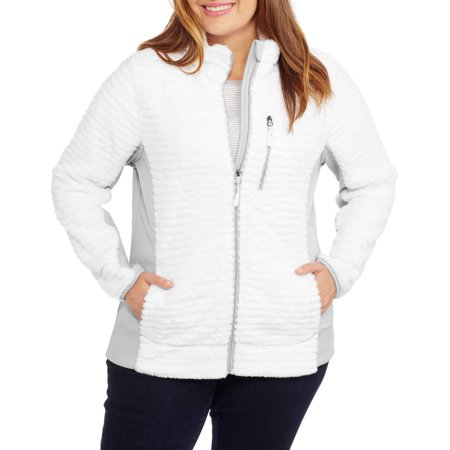 d8837ada1d2 Faded Glory - Women s Plus Plush Sport Fleece Jacket - Walmart.com