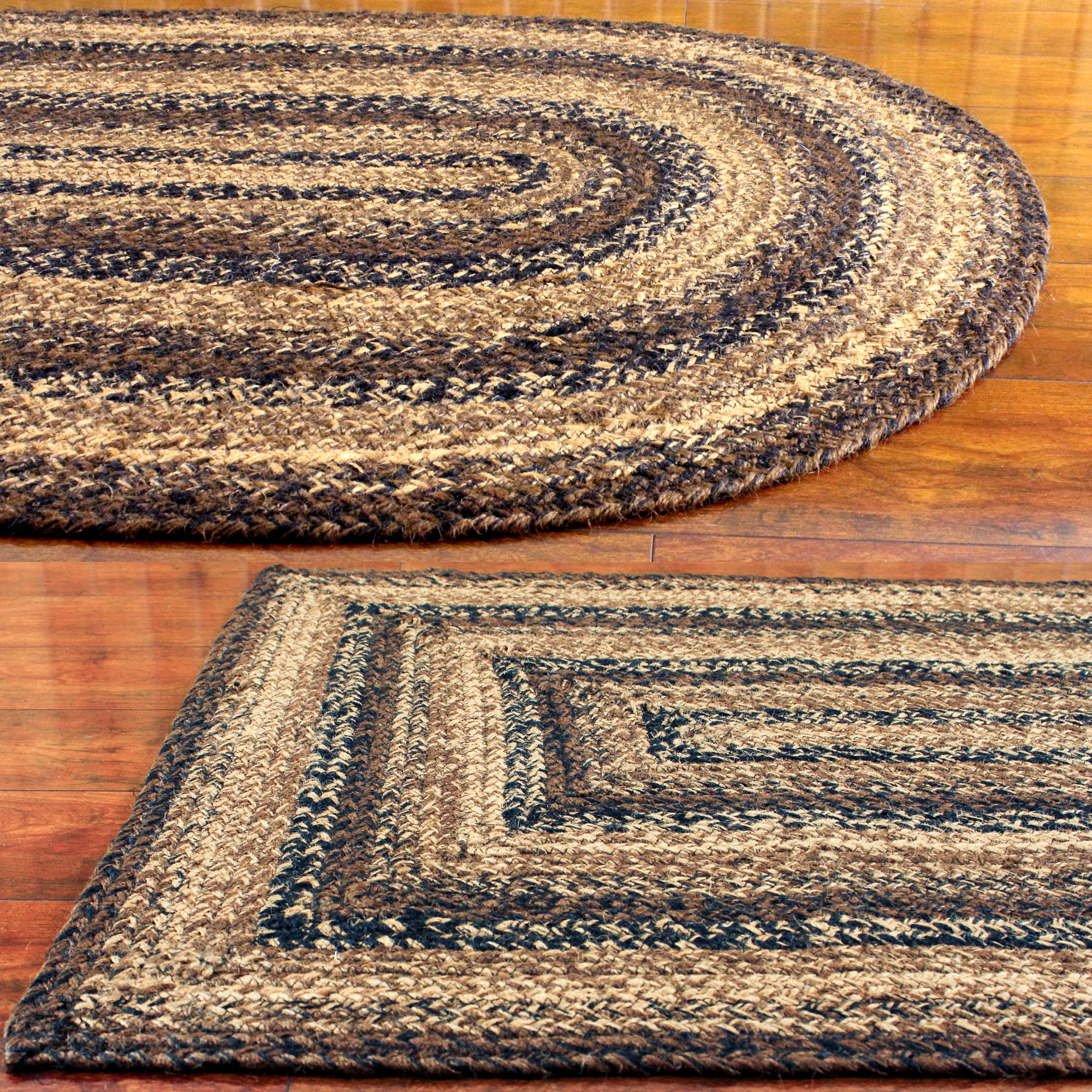 Jute Braided Rug Black Brown And Tan Primitive Country Cuccino
