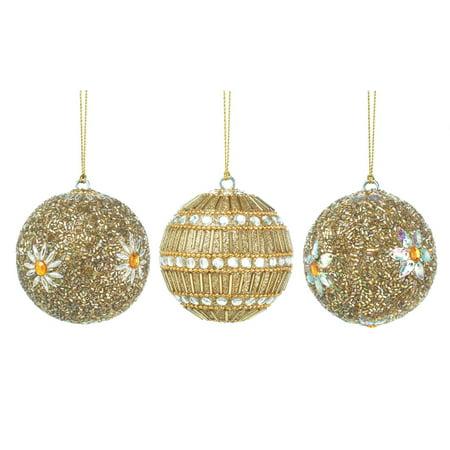 Christmas Ornaments Christmas Tree, Golden Beaded Round Glass Christmas Ornaments