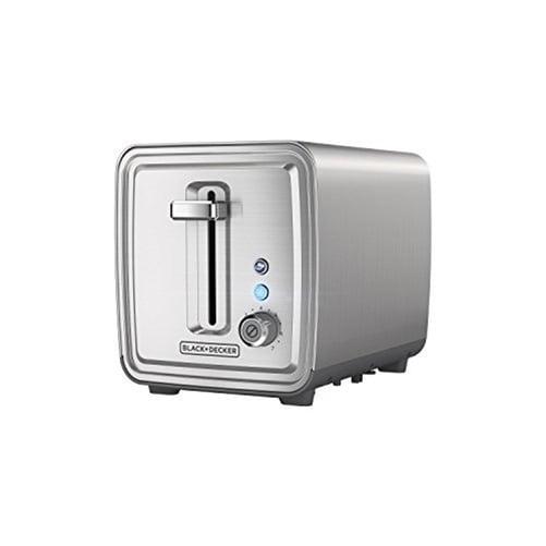 Black & Decker 2-Slice Toaster - 850 W - Toast, Bagel, Frozen - Brushed