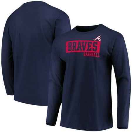 Men's Majestic Navy Atlanta Braves Box Cutter Long Sleeve T-Shirt Brian Jordan Atlanta Braves