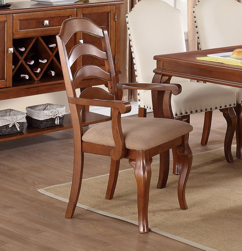 Simple Relax 1PerfectChoice Set of 2 Formal Dining Armchairs Ladder Back Fabric Seat Solid Wood Oak Finish by 1PerfectChoice
