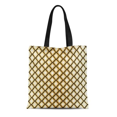 ASHLEIGH Canvas Tote Bag Tan Off Geometric Diamond Brown White Gold Pattern Abstract Reusable Handbag Shoulder Grocery Shopping Bags Brown All Purpose Totes