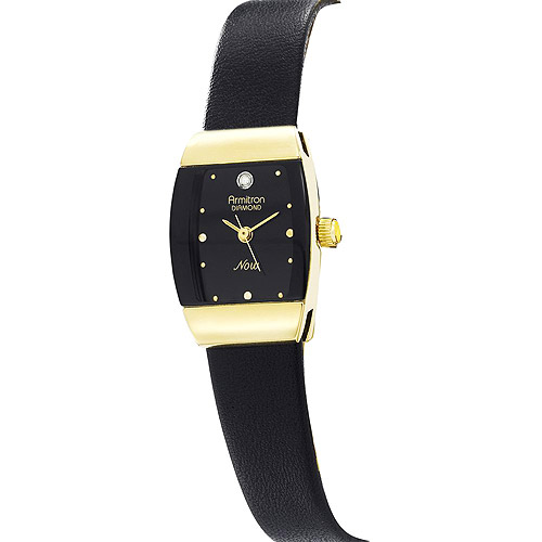 Armitron Ladies Black Strap Diamond Watch