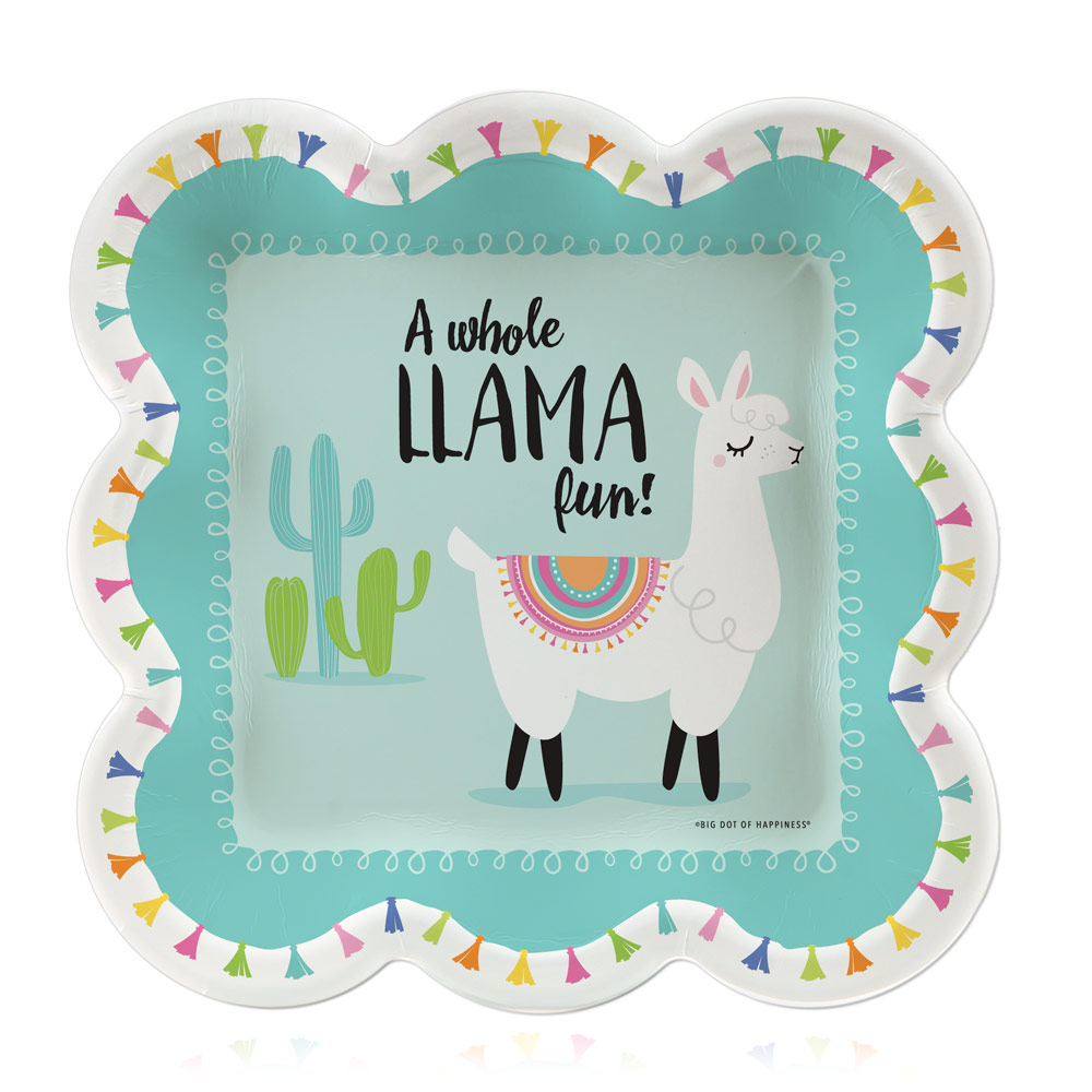 Whole Llama Fun - Llama Fiesta Baby Shower or Birthday Party Dessert Plates (16 Count)