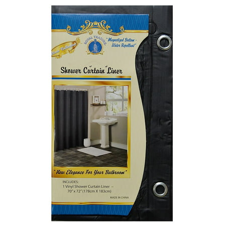 Black Vinyl Shower Curtain Liner With Metal Grommets Magnets