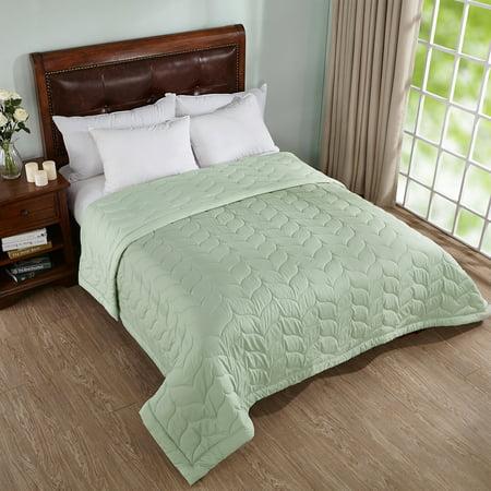 Peace Nest Reversible Down Alternative Quilted Blanket, King Size, Green - Green Reversible Blanket