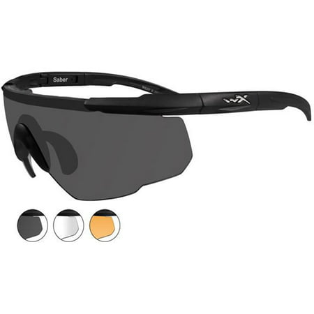 Wiley X Saber Advanced Sunglasses, Interchangeable Grey/Clear/Rust Lens / Matte Black Frame - 308 (Wiley X Saber Advanced Sonnenbrille)