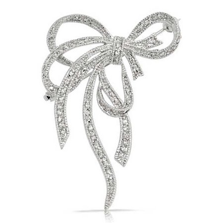 Large Fashion Statement Ribbon Pave Cubic Zirconia Wedding Bow Brooch Pin For Women Silver Plated (Silver Plated Brooch)