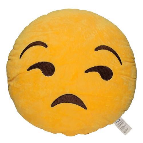 Emoji Smiley Emoticon Yellow Round Plush Pillow - Flouting
