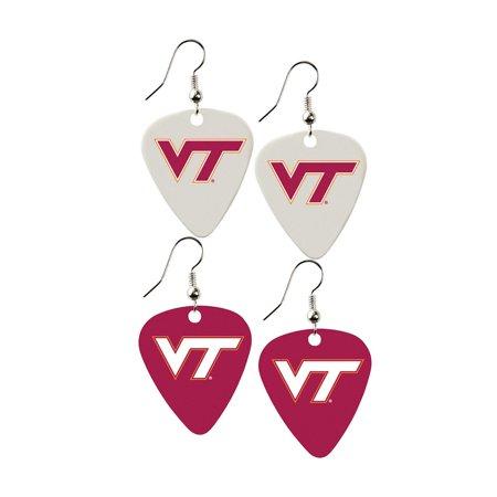 Virginia Tech Hokies Gift (Virginia Tech Hokies NCAA Guitar Pick Sports Team Logo Dangle Earrings Charm Gift - Set of)