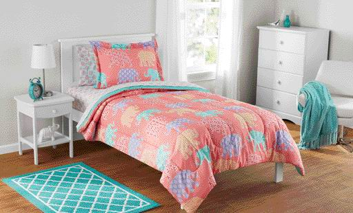 Mainstays Kids Elephant Bed in a Bag Complete Bedding Set by Keeco