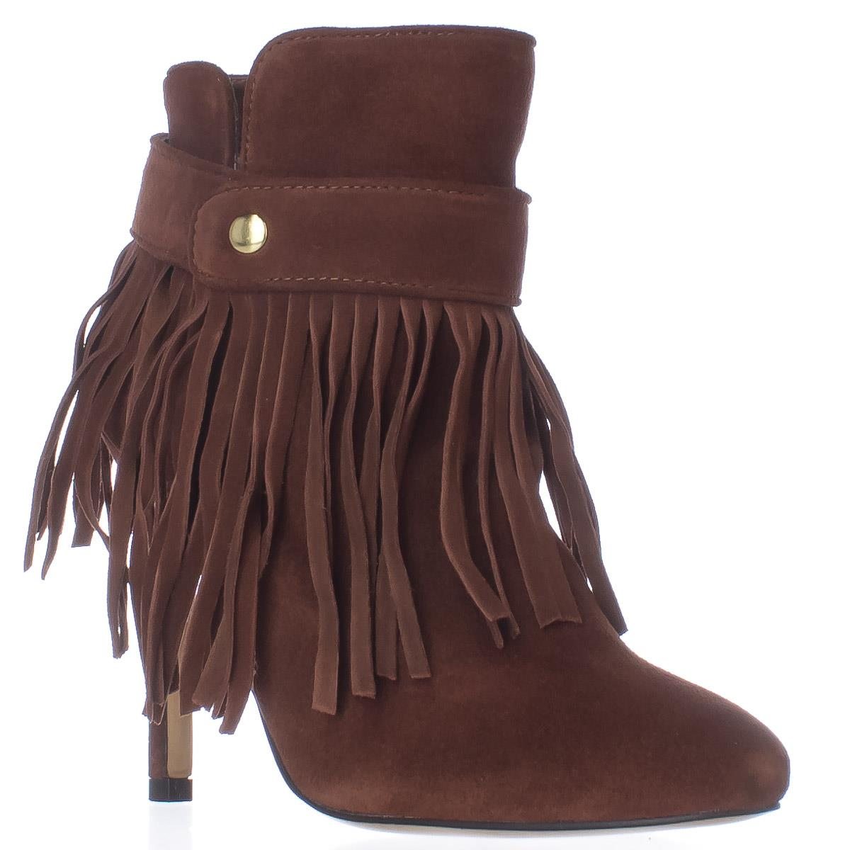 Womens June Ambrose 442761 Fringe Heeled US Ankle Boots, Cognac, 6 US Heeled aa3cbe