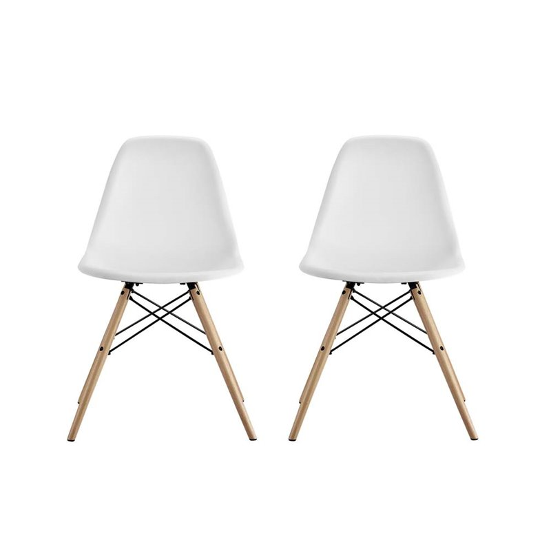 Delicieux DHP Mid Century Modern Molded Chair With Wood Leg, Set Of 2   Walmart.com