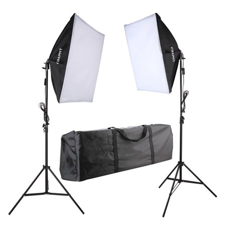 Craphy 700W Photography Continuous Softbox Light Lighting Kit Photo Equipment Soft Studio Light Softbox 50*70cm Light Stand Portable Bag with US -