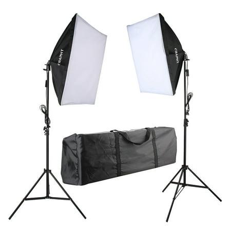 Craphy 700W Photography Continuous Softbox Light Lighting Kit Photo Equipment Soft Studio Light Softbox 50*70cm Light Stand Portable Bag with US Plug
