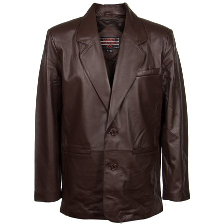 - Lucky Leather 118 Mens 2 Button Classic Chocolate Brown Leather Blazer