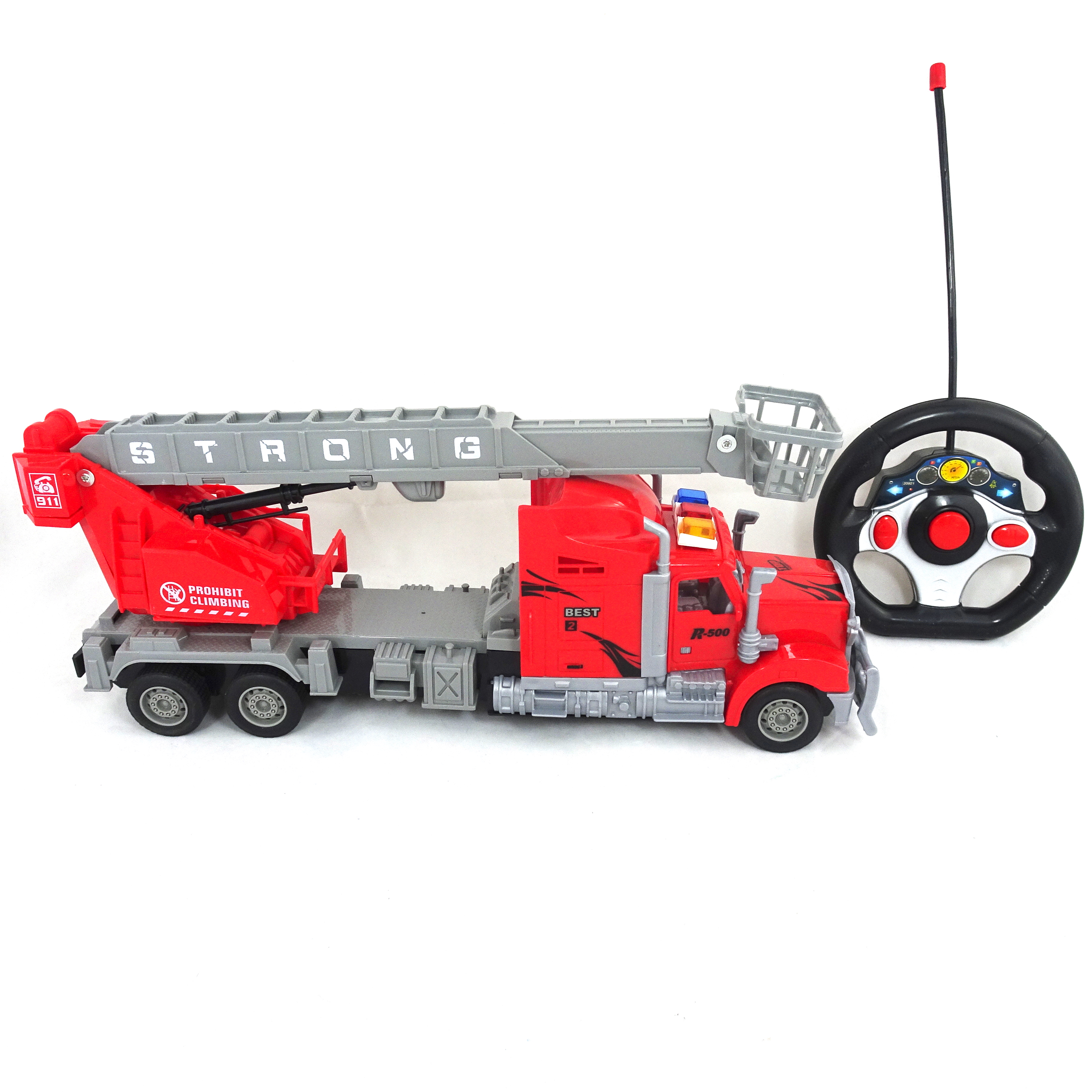 Remote Control Fire Truck With Ladder Battery Operated Red