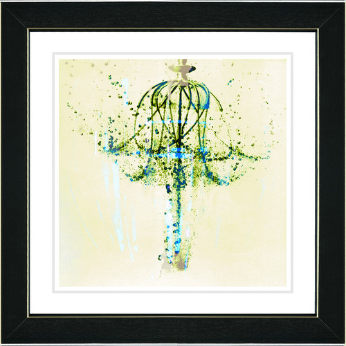 Studio Works Modern 'Water Chandelier' by Zhee Singer Framed Painting Print in Yellow