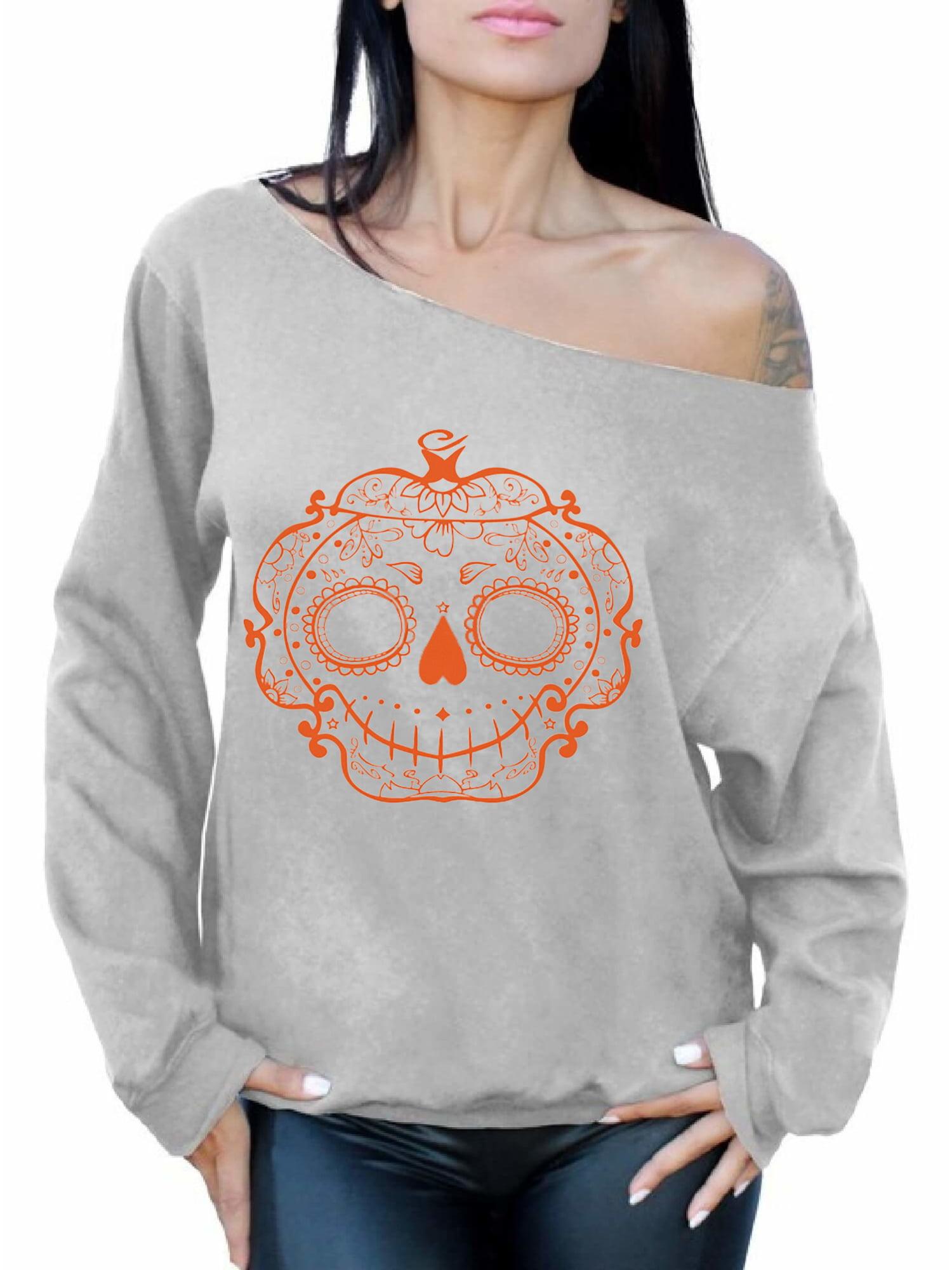 564b5875f63 Awkward Styles Halloween Sugar Pumpkin Off Shoulder Sweatshirt Sugar Skull  Oversized Sweatshirt Halloween Baggy Sweater for Women Spooky Gifts  Halloween ...
