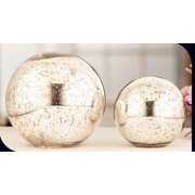 Essential Decor 2 Piece Silver Decoration Ball; 7.5 by 8 by 8 inch