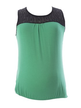 JULES & JIM Maternity Women's Lace Top Blouse Medium Green/Black