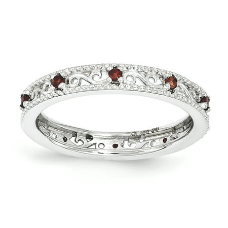 Sterling Silver Stackable Expressions Garnet Ring Size 7 - image 3 of 3