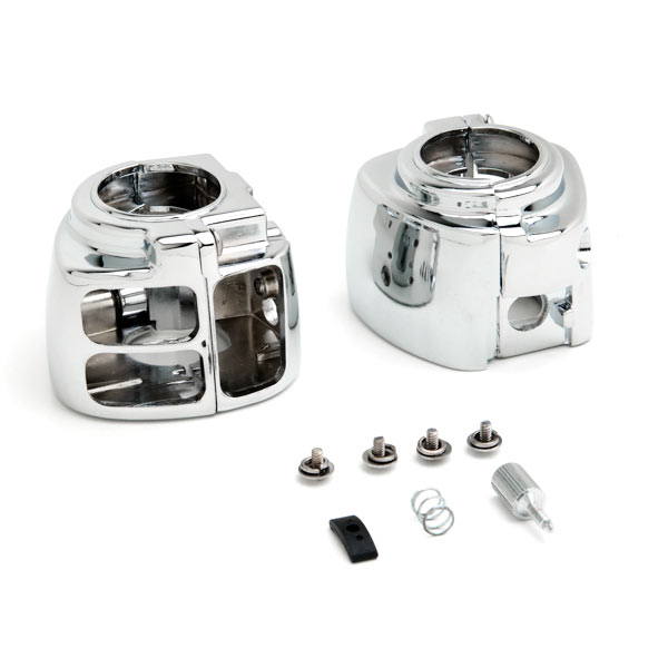 Chrome Handlebar Switch Housing Control Cover Kit For 1996-1999 Harley Davidson Softail - image 4 of 4
