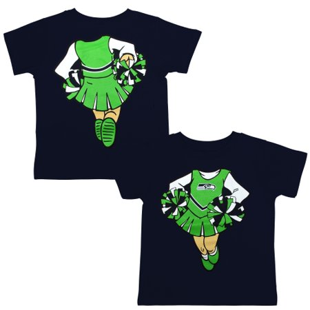 Seattle Seahawks Girls Toddler Cheerleader Dreams T-Shirt - College Navy (Nfl Seahawks Uniform)