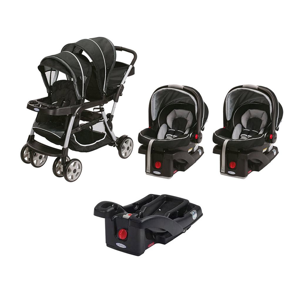 Graco Ready2Grow Dual Stroller & Two SnugRide Car Seat Travel System, Gotham by Graco