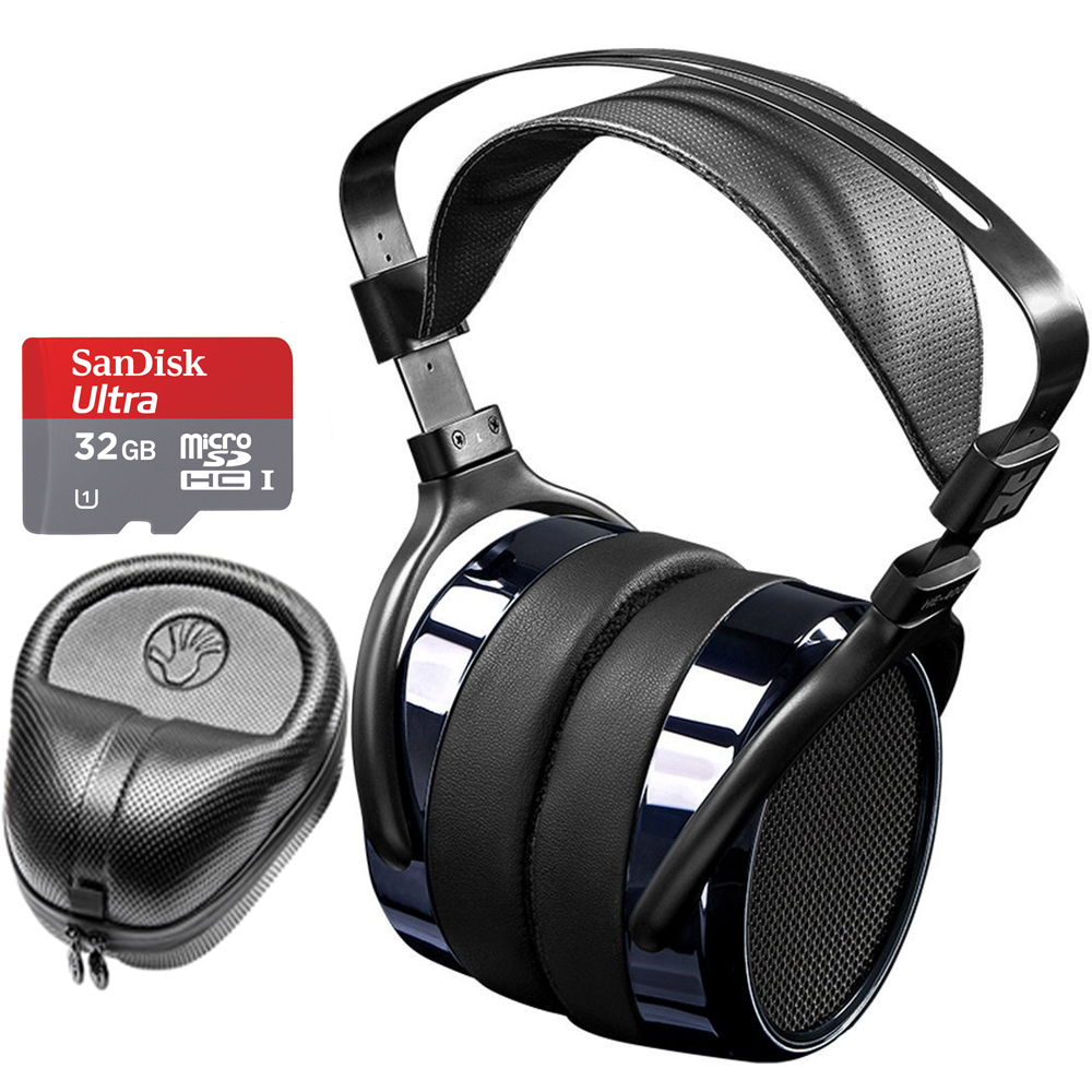 Hifiman HE400i Special Edition Over Ear Full-Size Planar Magnetic Headphones (Dark Blue Chrome) Includes Slappa Headphone Case & SanDisk 32GB MicroSD Memory Bundle