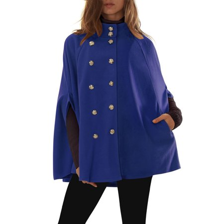 Women's Stand Collar Open Front Button Double Breasted Worsted Poncho Coat Blue (Size S / 6) Blue XL (US 18)