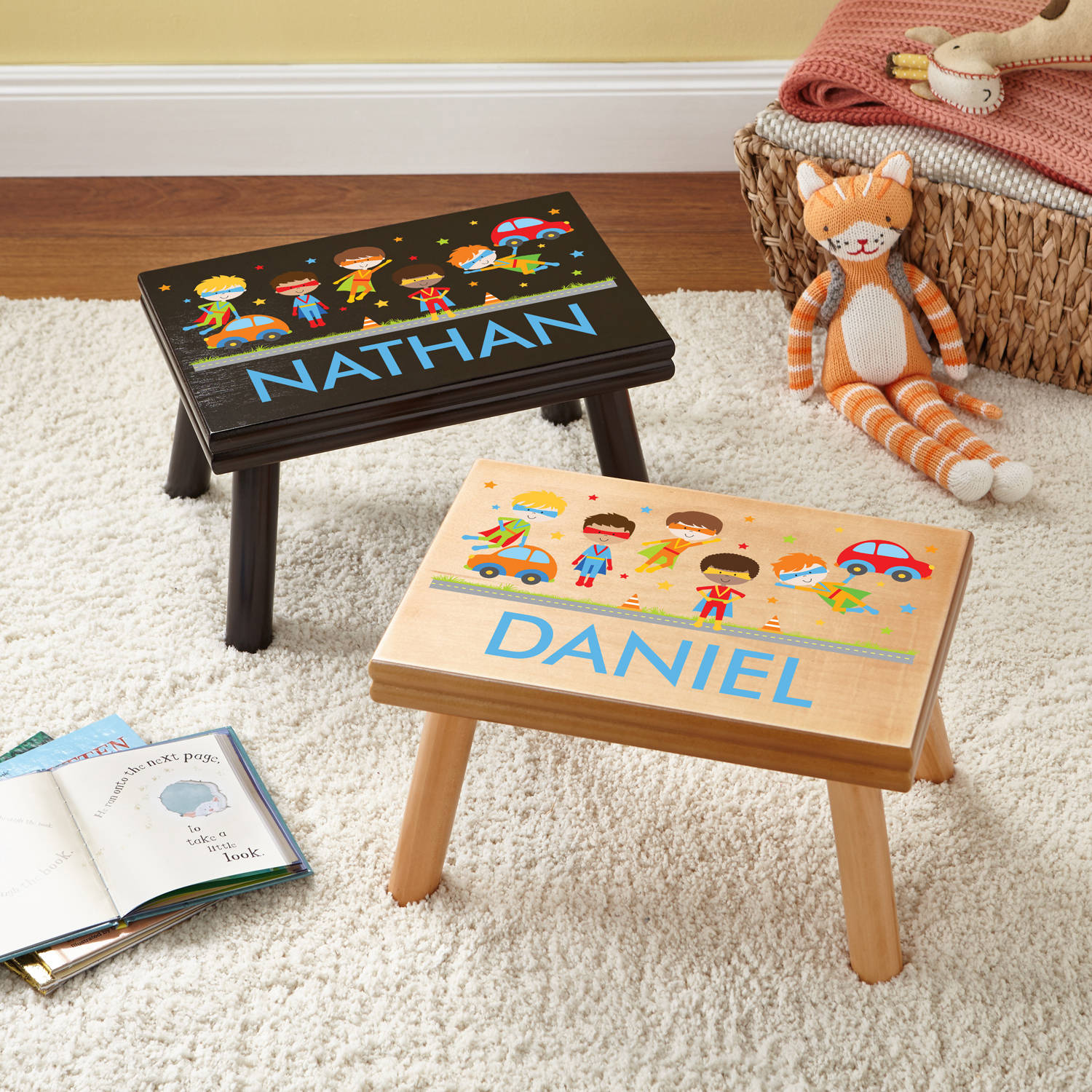 Personalized Super Hero Fun Step Stool, Available in 2 Finishes