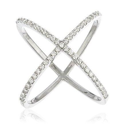 Ladies Zirconia Stones - Ladies 925 Sterling Silver Criss Cross 'X' Ring with Cubic Zirconia Stones (1..
