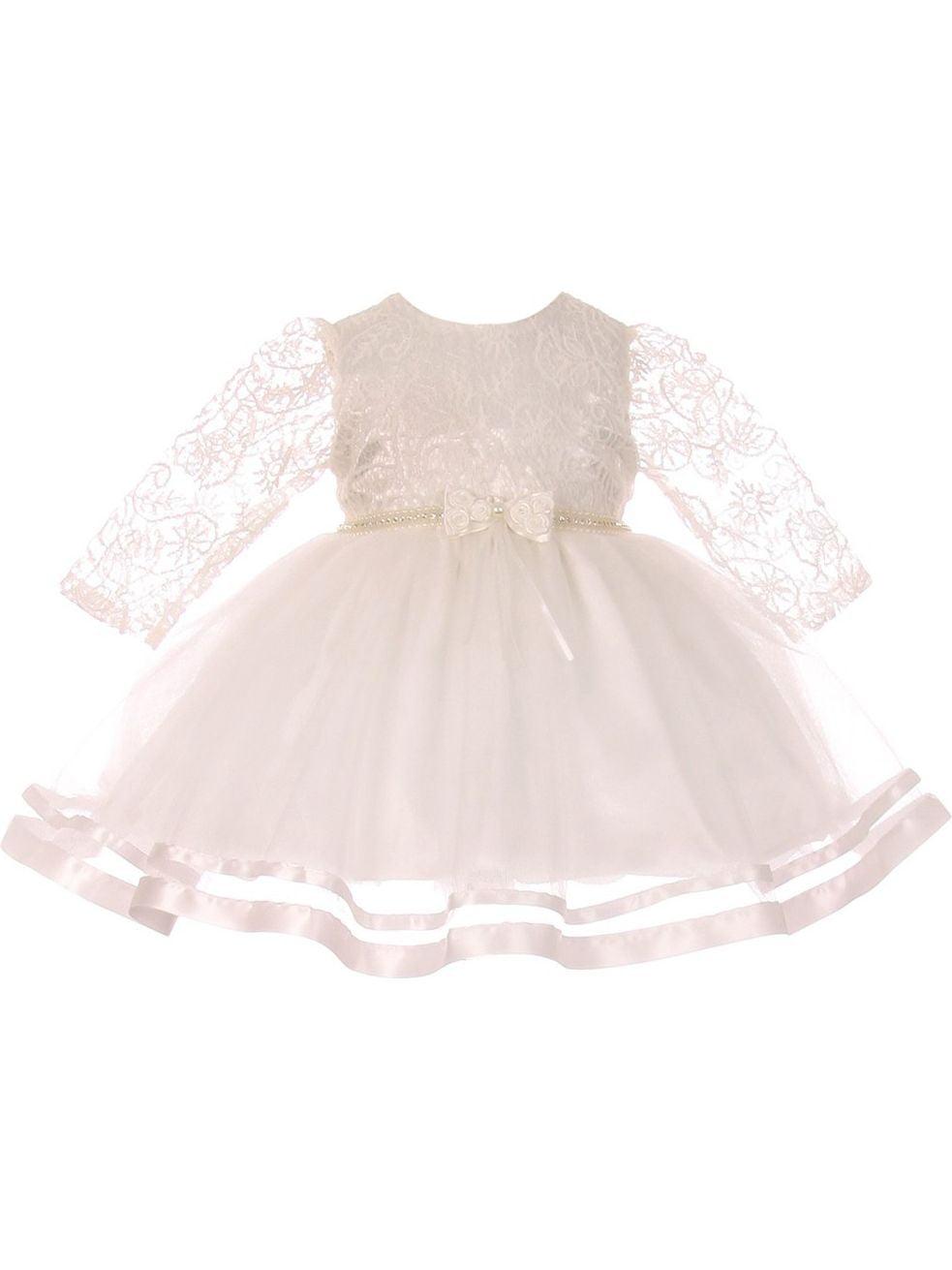 Baby Girls Ivory Lace Tulle Rhinestone Pearl Flower Girls Dress S-XL