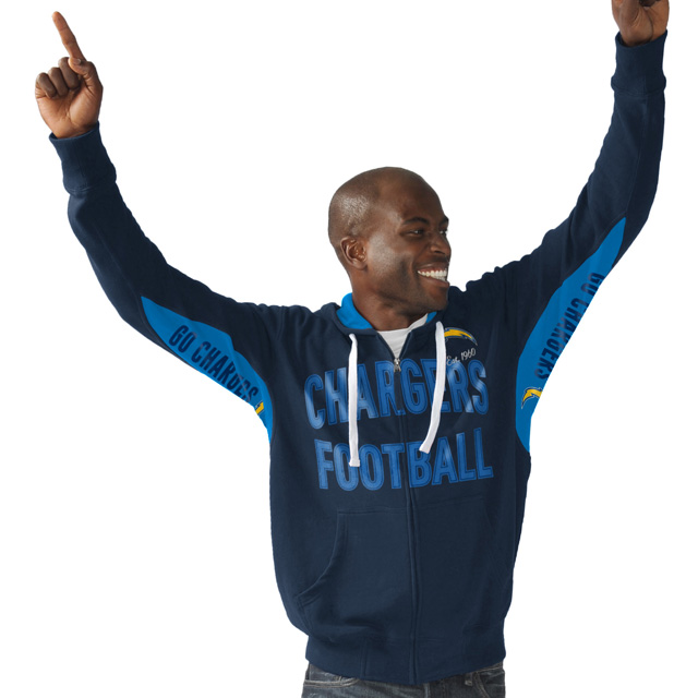 Los Angeles Chargers Hands High Sueded Playoff Full-Zip Hoodie - Navy