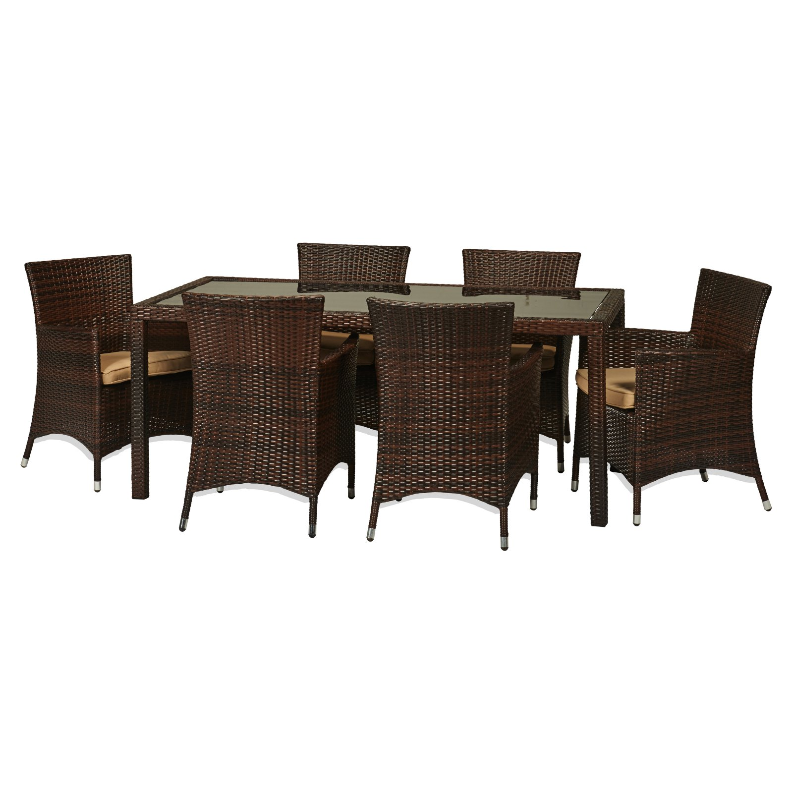 THY-HOM Rica 7 Piece Wicker Patio Dining Set
