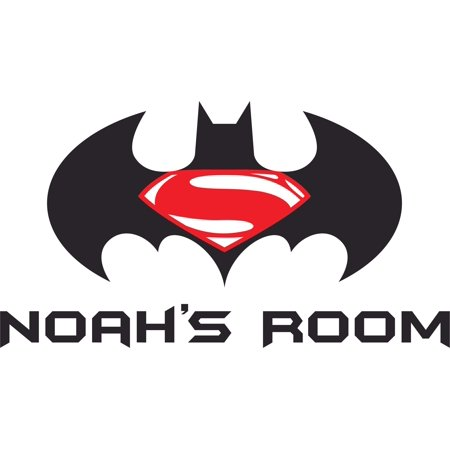 Superman and Batman Logo Super Heroes Customized Wall Decal - Custom Vinyl Wall Art - Personalized Name - Baby Girls Boys Kids Bedroom Wall Decal Room Decor Wall Stickers Decoration