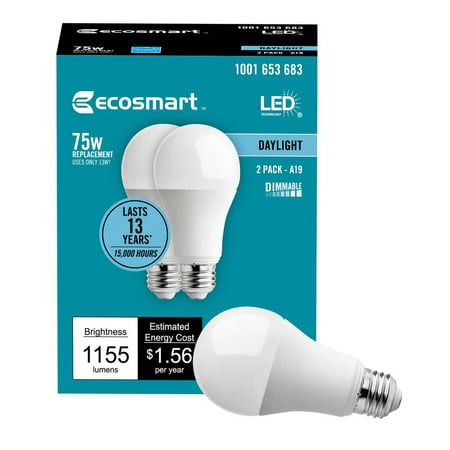 Ecosmart 75 Watt Equivalent A19 Dimmable Energy Star Led