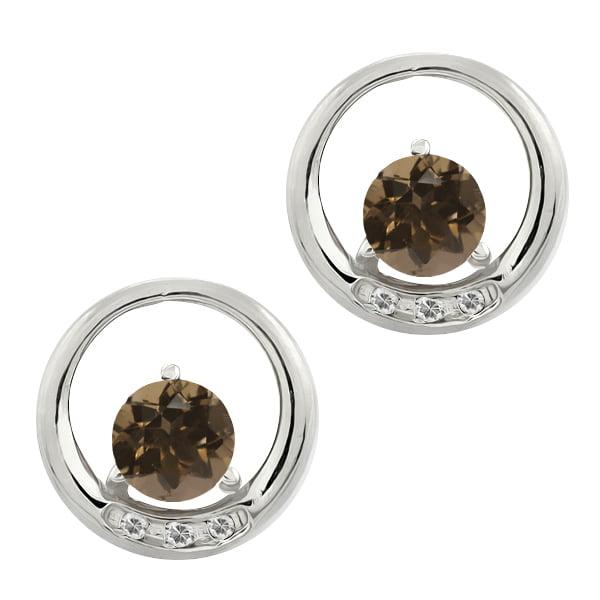 0.96 Ct Round Brown Smoky Quartz and White Topaz 14k White Gold Earrings