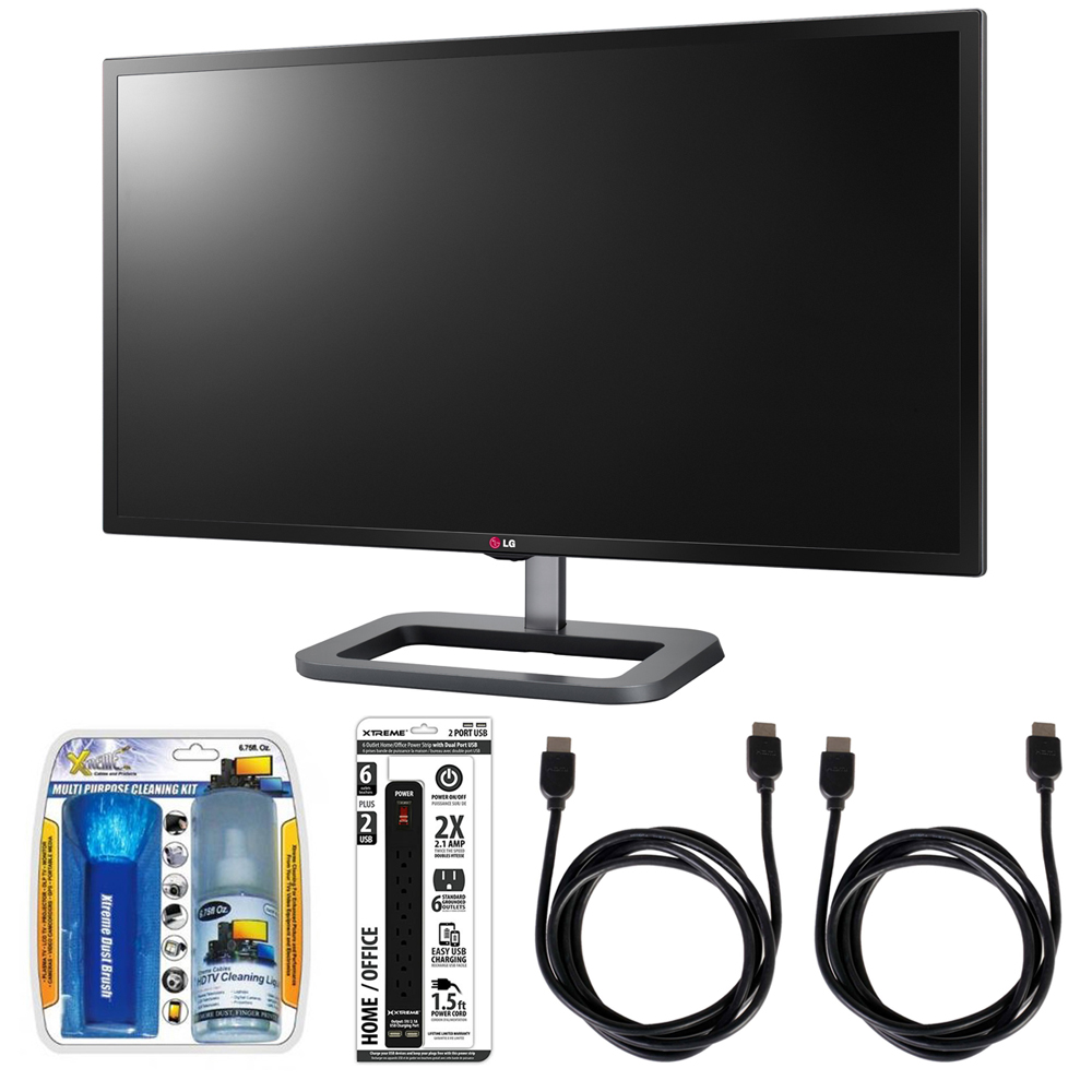 "LG IPS Digital Cinema 4K Monitor 31"" UltraWide 4K Display (31MU97-B) with Xtreme Performance TV/LCD Screen Cleaning Kit, Xtreme 6 Outlet Power Strip & 2x General Brand HDMI to HDMI Cable 6'"