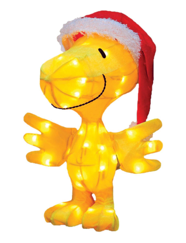 "18"" Pre-Lit Peanuts Soft Tinsel Santa Claus Woodstock Christmas Yard Art Decoration - Clear Lights"