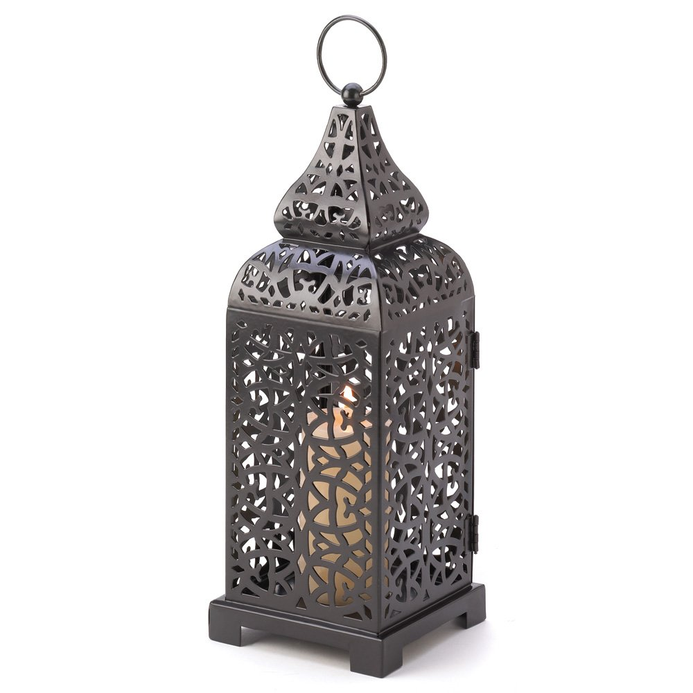 Moroccan Lantern Outdoor, Black Iron Tower Moroccan Decorative Lanterns