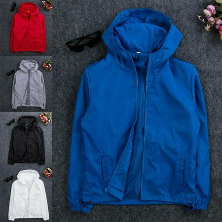 Polyester Raincoat (The Noble Collection Men's Jacket Waterproof Hooded Outdoor Camping Windbreaker Outwear Rain Coat)