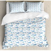 Whale Queen Size Duvet Cover Set, Marine Life Illustration for Kids Ships Clouds and Wind Fairytale Happiness, Decorative 3 Piece Bedding Set with 2 Pillow Shams, Pale Grey Blue White, by Ambesonne
