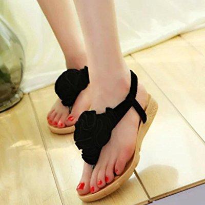 b5a47059864d ... hot sandals ! ama(tm) women summer sweet flower bohemia sandals flat  clip toe